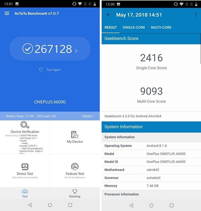 OnePlus 6 Benchmarks Scores