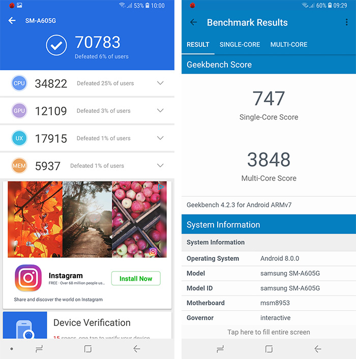 Samsung Galaxy A6 Plus benchmarks