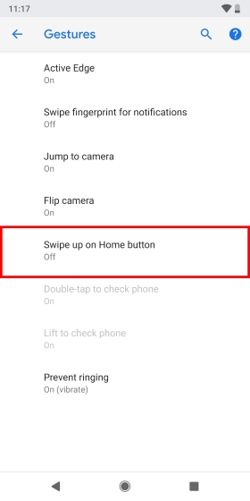 Swipe up on Home button