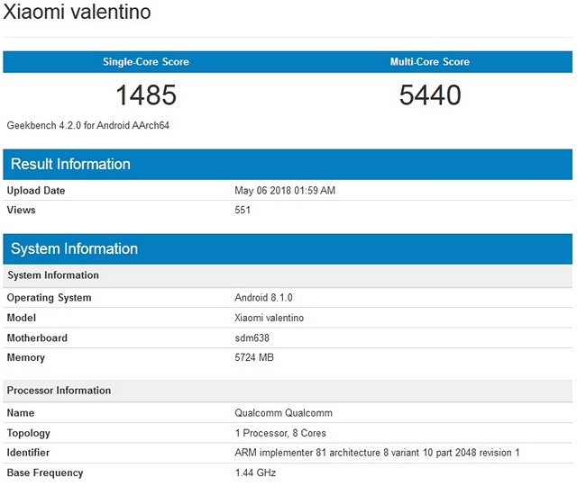 Xiaomi 'Valentino' With Unannounced Snapdragon 638 Spotted on Geekbench
