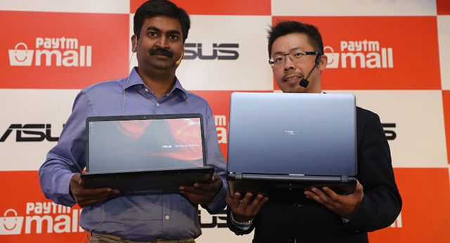 Asus India regional head Leon Yu (left) with Paytm Maill's COO Amit Sinha at the launch event