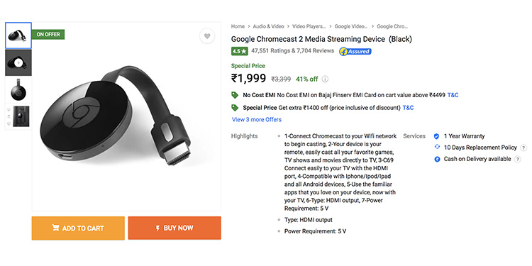 Get 41% Discount on Google Chromecast 2 Streaming Dongle via Flipkart