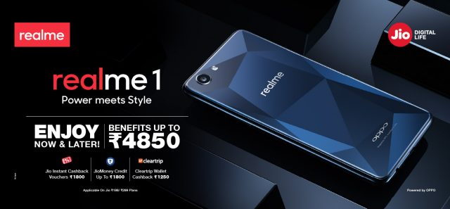 Reliance Jio Offers Benefits up to Rs. 4,850 with the Realme 1