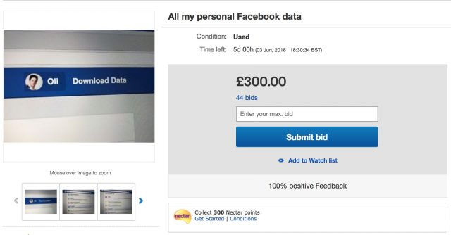 eBay Blocks Man From Selling His Facebook Data Online, He's Selling it Anyway