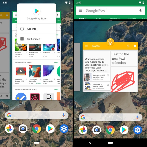 split screen android p