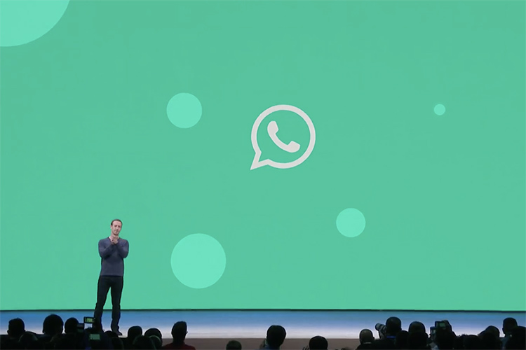 Facebook CEO Mark Zuckerberg at F8 announcing the latest WhatsApp updates