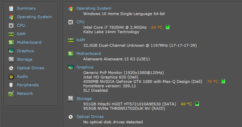 Alienware 15 R3 Thermals