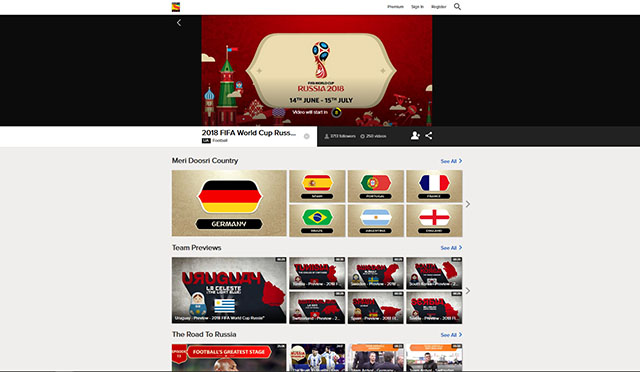 FIFA World Cup SonyLIV desktop screenshot