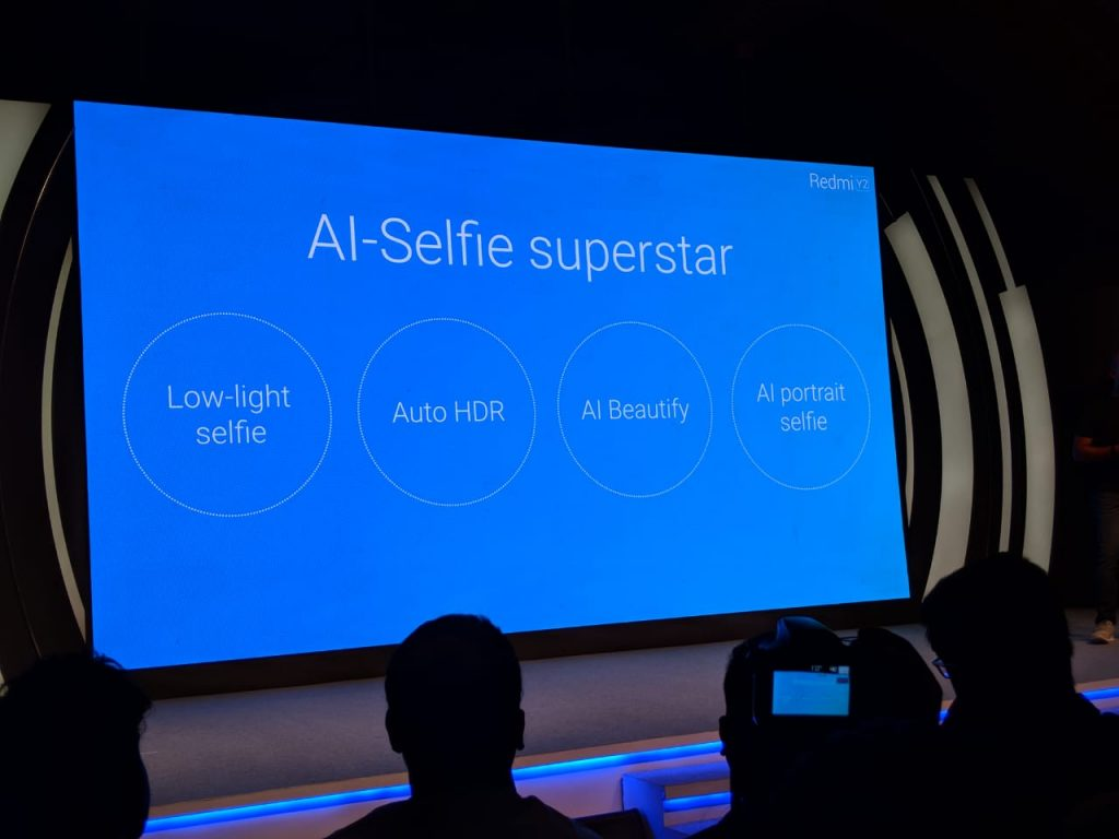 Redmi Y2's AI selfie features