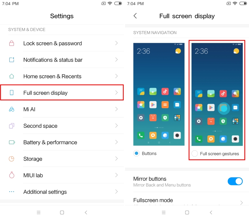 MIUI 10 Enable Full Screen Gestures