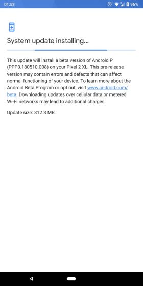 android p beta 2 update
