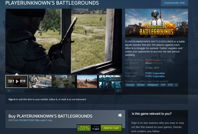 Get PUBG for Just Rs 669 In Its First Ever Steam Sale Till