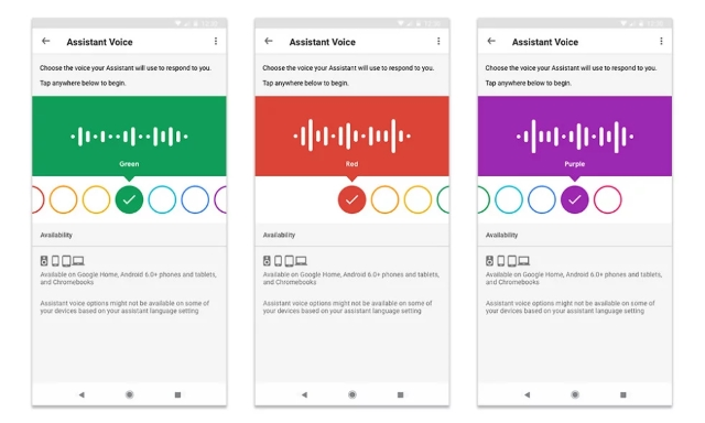 Google Assistant Now Shows Up Different Colors for Each Voice