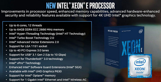 Intel Unveils Xeon E-2100 Processor Family for Entry-Level Workstations