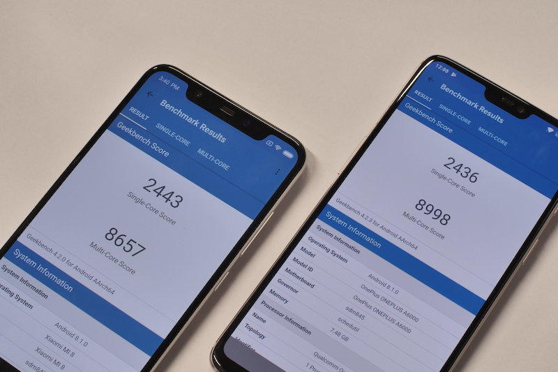 Mi 8 vs OnePlus 6 Performance