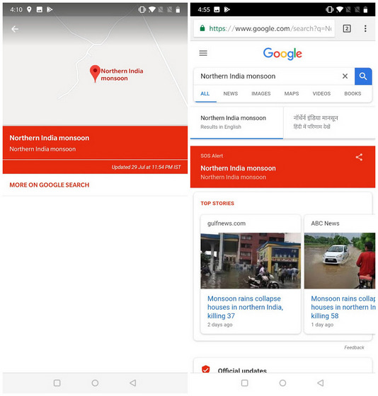 Google Maps Alerting Users in North India with SOS About Heavy Monsoon