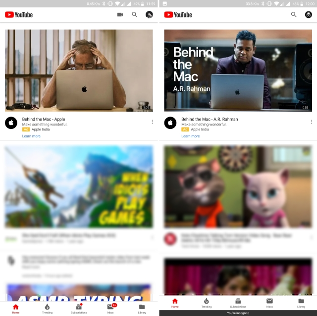 YouTube Incognito Mode on Android Is Rolling out Now