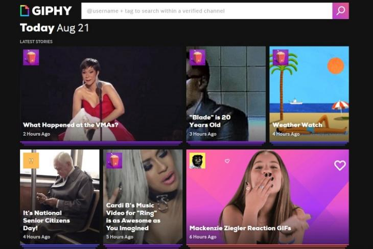 Giphy Stories Homepage website