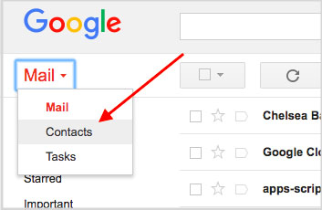 Gmail contacts shortcut
