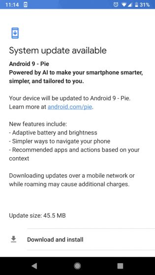 Android 9 Pie pixel 2 update