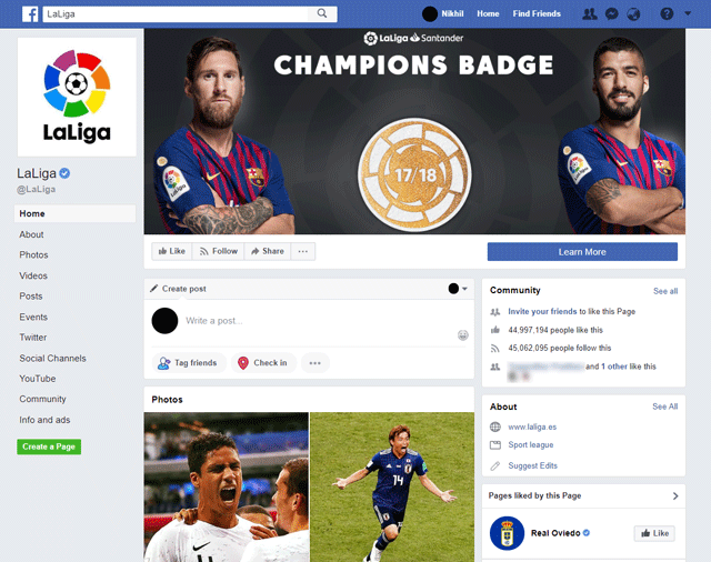 La Liga Page on Facebook. There's no indication that matches are live when you visit this page