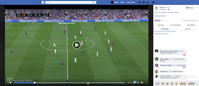 Facebook Watch video player with comments box and emoji reactions