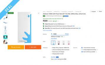 flipkart superr sale ambrane power bank deal web image