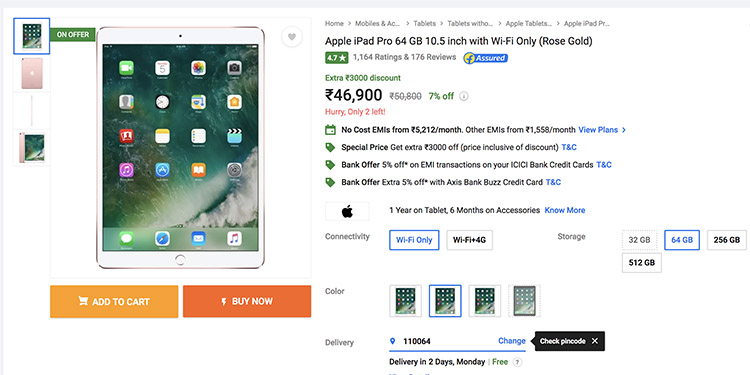 "Flipkart Superr Sale: Get Rs 3,000 off on iPad Pro 10.5"" (Wi-Fi)"