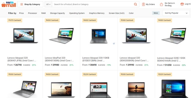 Paytm Partners with Intel, Lenovo For Dedicated Laptop Store on Paytm Mall