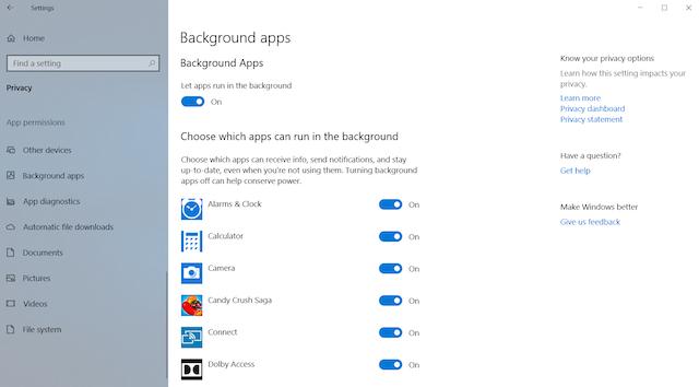 4. Deaktivieren Sie Hintergrund-Apps