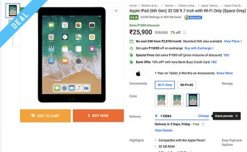 "iPad 6th-Gen and Other Top Tablet Deals From Flipkart's ""Terrific Tablet Day"""