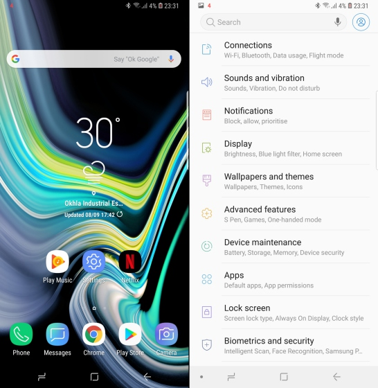 samsung galaxy note 9 ui