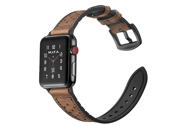 9. Mifa Hybrid Leather Band for Apple Watch Series 4