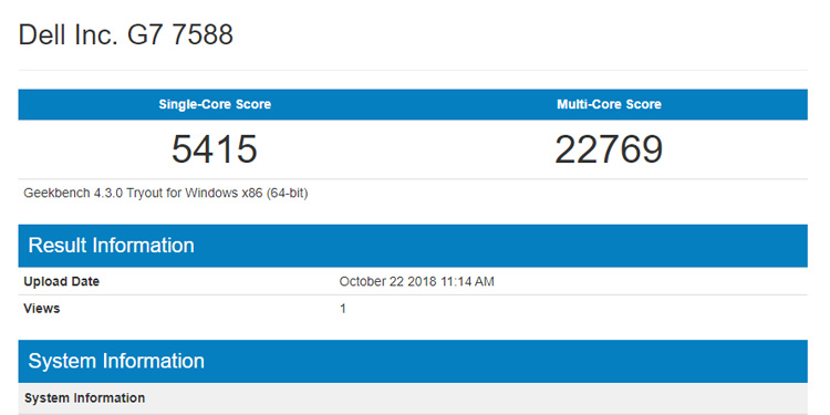 Dell G7 Review Geekbench