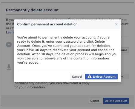 facebook delete account pop-up