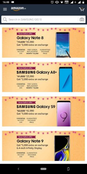 Top Deals On Samsung Galaxy S9, Galaxy Note 8 in Amazon's Great Indian Festival