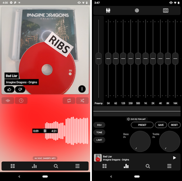 PowerAmp screenshot showing player interface and equalizer