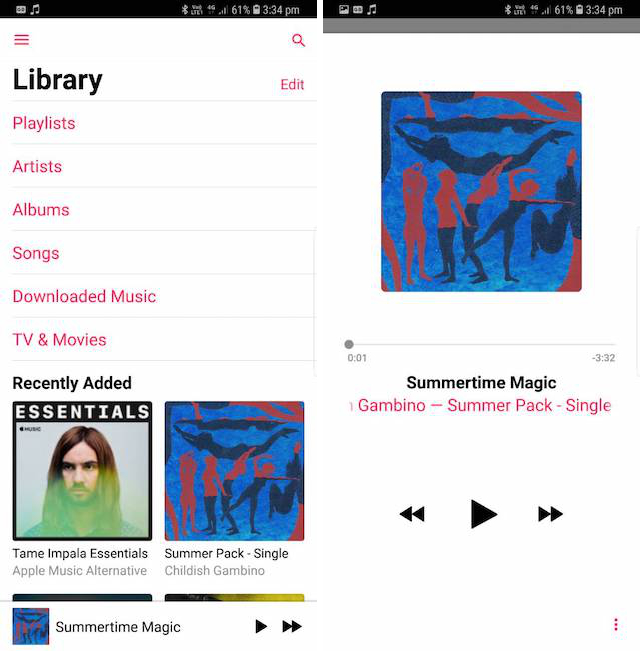 Apple music library and now playing screen