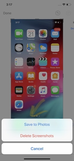 2. Editing Screenshot on iPhone (iOS 11 and Above)