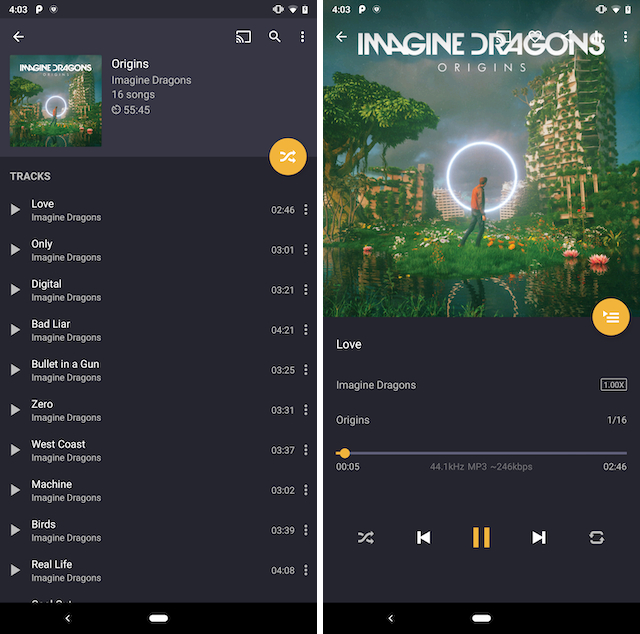 Pulsar music player showing playlist and player screen