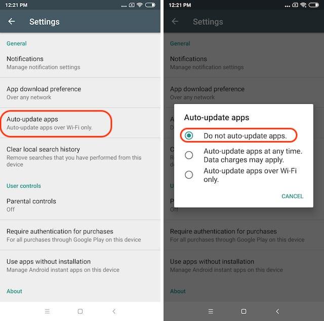 2. automatic app updates
