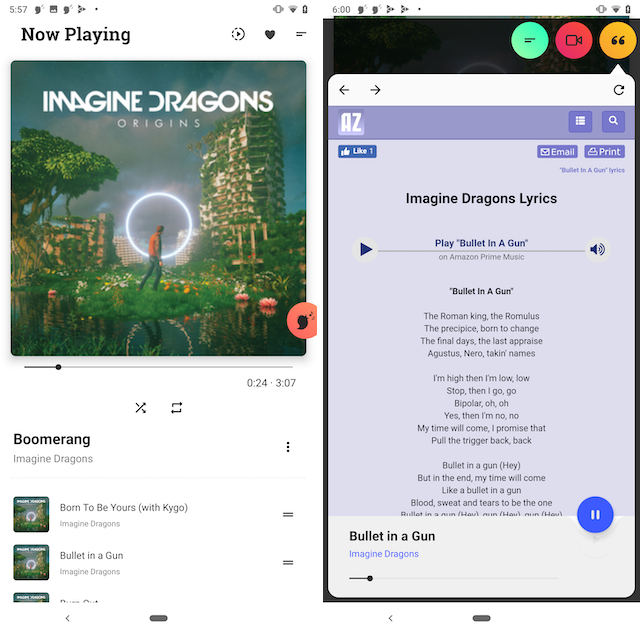Canaree app showing now playing screen and lyrics