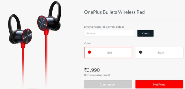OnePlus Bullets Wireless Earphones in Red Coming to India Soon