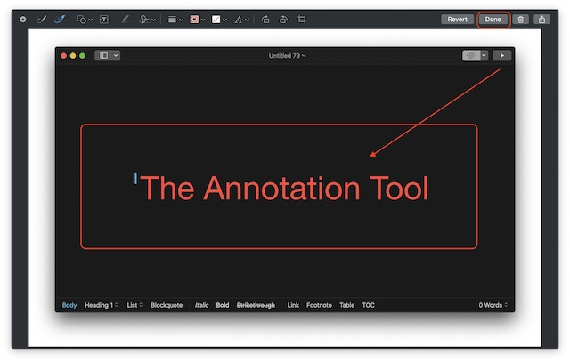 Screenshot of annotating screenshots in macos