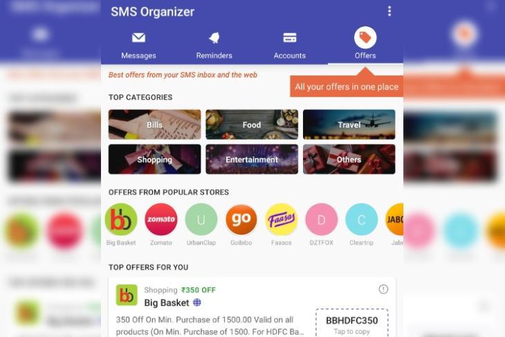 SMS Organizer offers