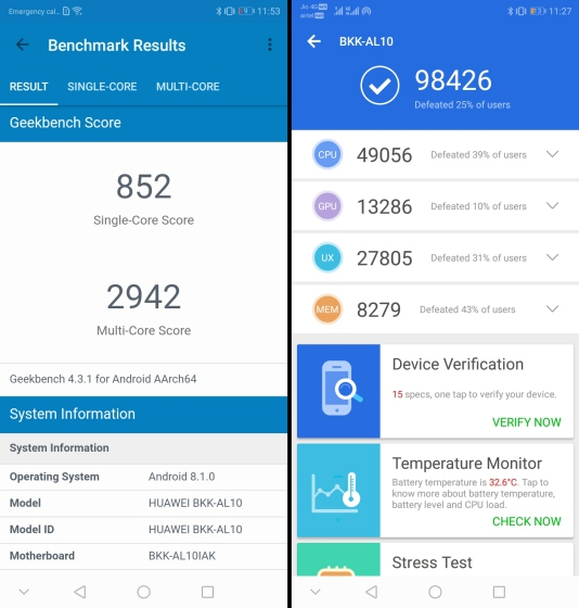 honor 8c benchmarks