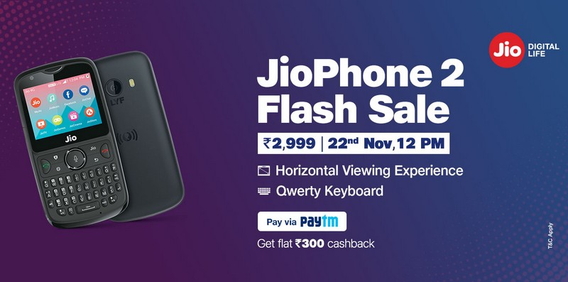JioPhone 2's Next Flash Sale On November 22 With Paytm Cashback of Rs 300