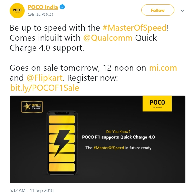 Poco F1 Supports Quick Charge 4+, but Here's Why is Xiaomi Not Talk About it