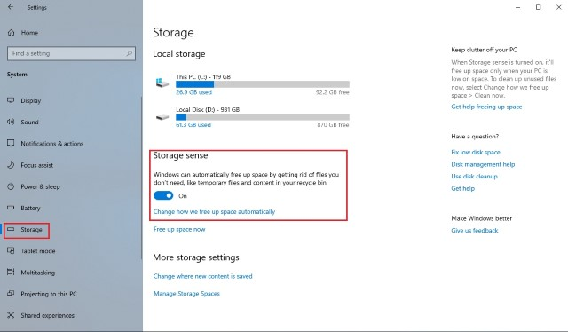 2. Use Storage Sense to Manage Storage