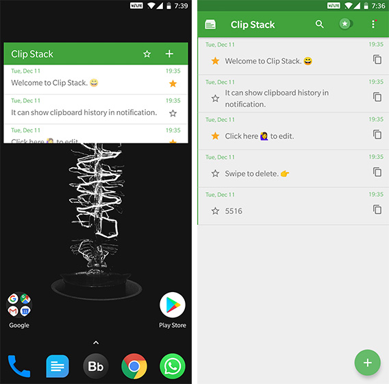 Android Widgets Clip Stack